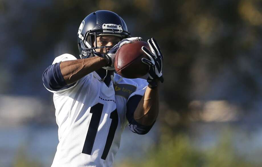 Seattle Seahawks wide receiver Percy Harvin makes a catch as he takes part in an NFL football practice, Tuesday, Oct. 22, 2013, in Renton, Wash. It was Harvin's first full team practice since he injured his hip during the off-season. Photo: Ted S. Warren, Associated Press