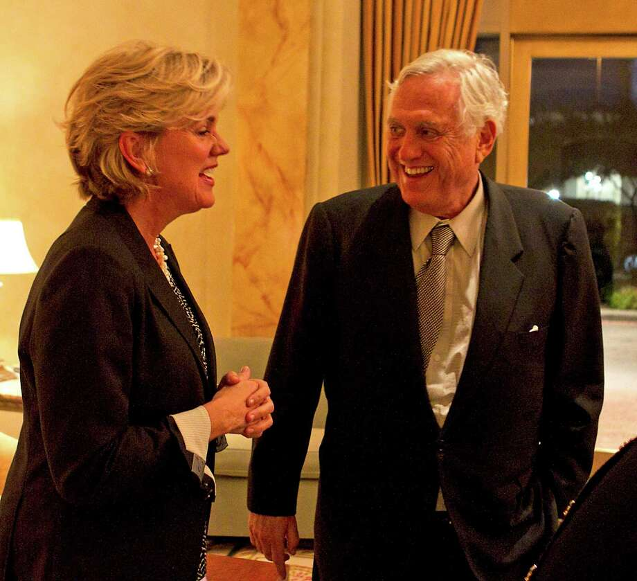 Former Michigan Gov. Jennifer Granholm, left, and Arthur Schechter, former U.S. ambassador to the Bahamas, are upbeat Tuesday evening after a fundraiser for Hillary Clinton at the home of Schechter and his wife, Joyce. Photo: James Nielsen, Staff / © 2013  Houston Chronicle