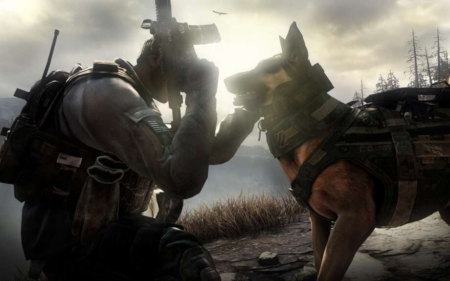 "This photo released by Activision shows Riley, the canine star of the video game, ""Call of Duty: Ghosts."" The new video game isn't due until November 2013, but Riley has already become the breakout star of the military shoot-'em-up. (AP Photo/Activision) Photo: Associated Press"