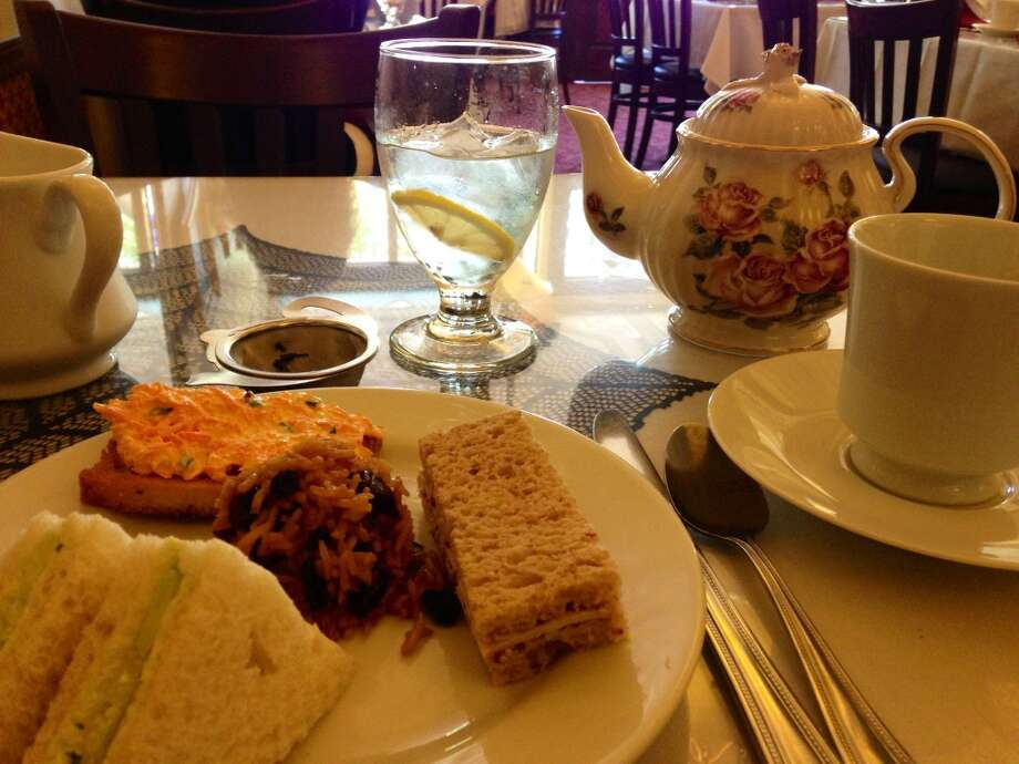 Tea time at the Carmellia. The weird carrot salad on toast was surprisingly delicious.