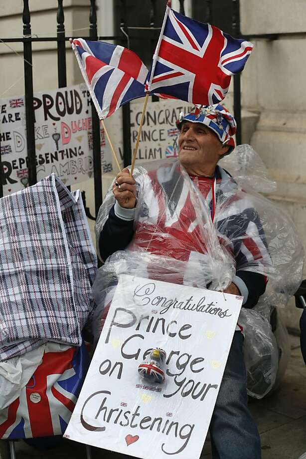 British Royal family fan Terry Hutt camps up outside the Chapel Royal, St James's Palace in London ahead of the christening of Prince George, Tuesday, Oct. 22, 2013. The royal christening ceremony of Prince George, son of Prince William and Kate, Duchess of Cambridge is to take place at the Chapel on Wednesday. Photo: Sang Tan, Associated Press