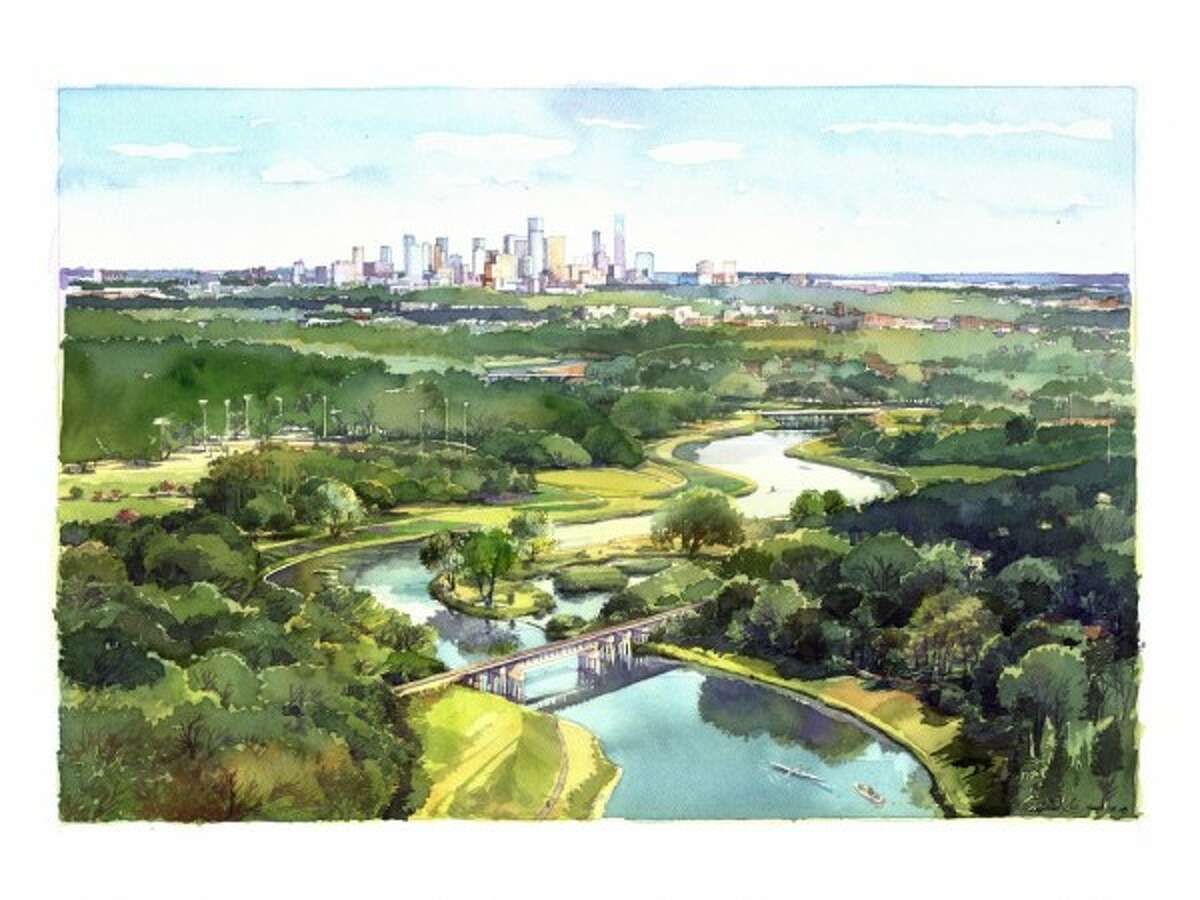A rendering of the Bayou Greenways 2020 project by SWA Group for Harris County Flood Control and the Houston Parks Board.