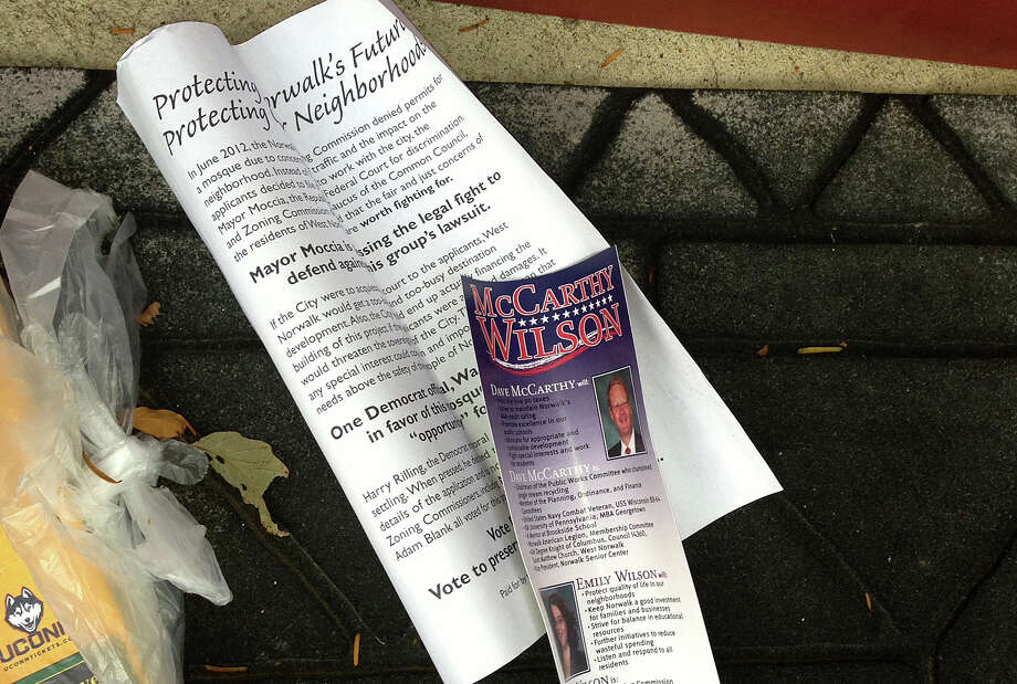 Campaign fliers distributed by Republican Common Council candidates in the West Norwalk area have touched off new debate over plans for a mosque on Fillow Street. Photo: Nancy Guenther Chapman / Norwalk Citizen contributed