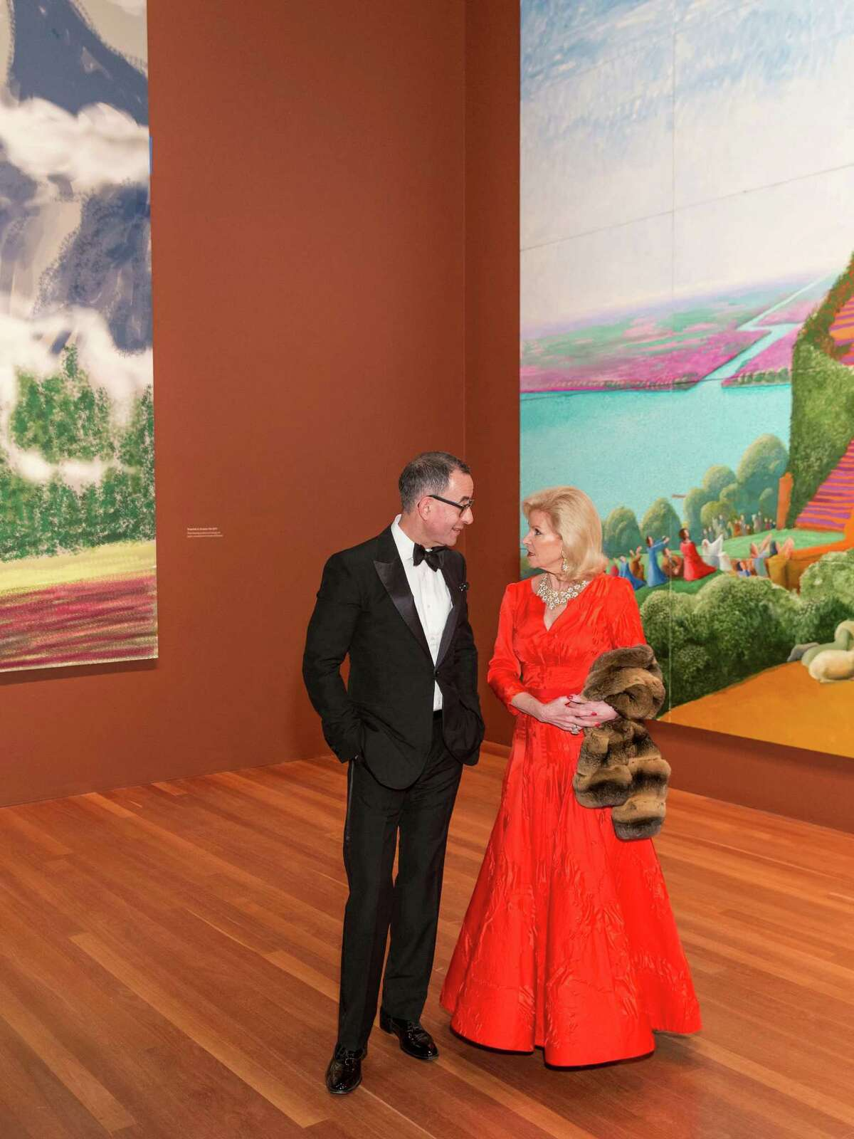 Colin B. Bailey and Dede Wilsey speak togther during dinner on October 22, 2013; the event celebrate artist David Hockney and the opening of his exhibition at the de Young.