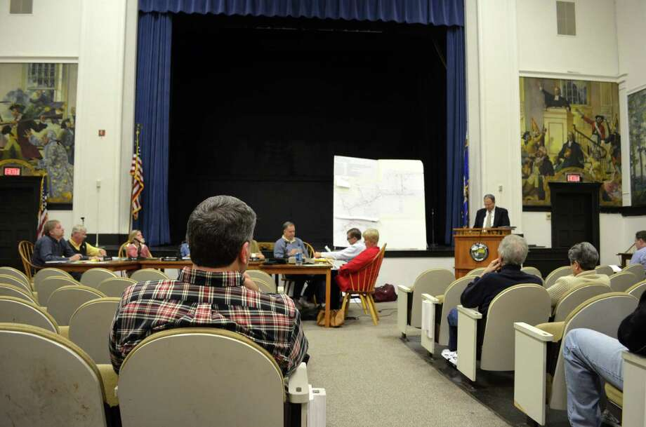 Darren Oustafine, assistant director of public works, answered questions regarding the Intervale Drainage project to the Environmental Protection Committe on Wed., Oct. 16 during a public hearing. Photo: Megan Spicer / Darien News