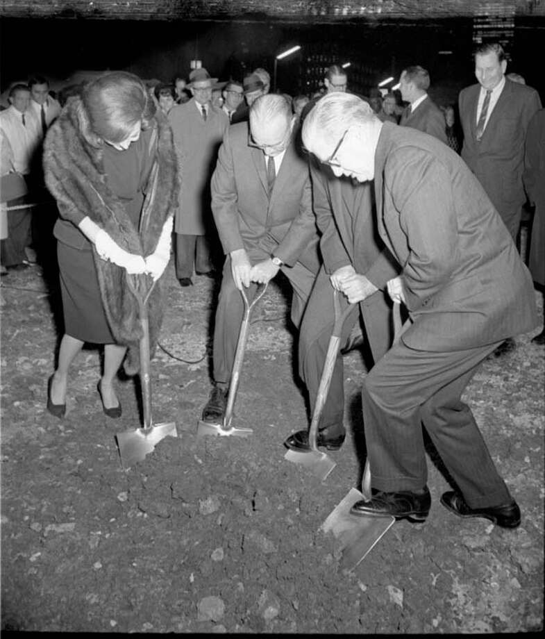Construction broke ground in 1964 on the Jones Hall for the Performing Arts. Here some local officials celebrate the groundbreaking ceremony.  Richard Pipes / Houston Chronicle Photo: Richard Pipes, Houston Chronicle / Houston Chronicle