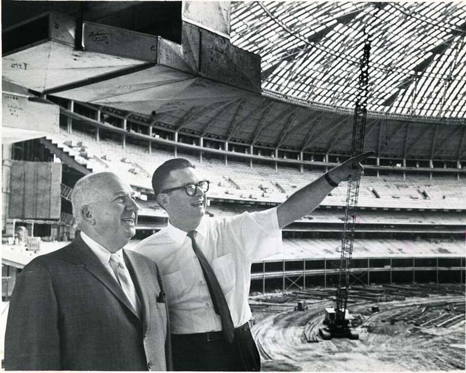 Colt .45 President Roy Hofheinz, right, is pictured showing National League president Warren Giles some features of the Astrodome, September 1964. HOUCHRON CAPTION (09/06/1964): NATIONAL LEAGUE PRESIDENT WARREN GILES INSPECTS DOMED STADIUM.  Colt .45 President Roy Hofheinz, Right, Points Out One of Interesting Features Photo: Houston Chronicle / Houston Chronicle