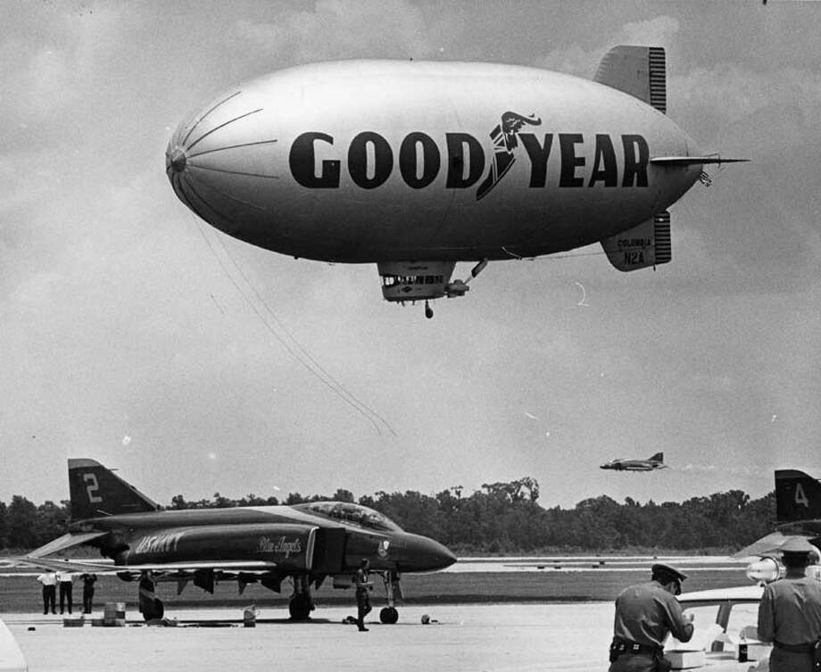 The Houston Intercontinental Airport (now the Bush Intercontinental Airport) hosted its open house June 1. 1969, and it featured a Goodyear blimp and Navy Blue Angels. Photo: Jim Coker, Houston Chronicle / ONLINE_YES