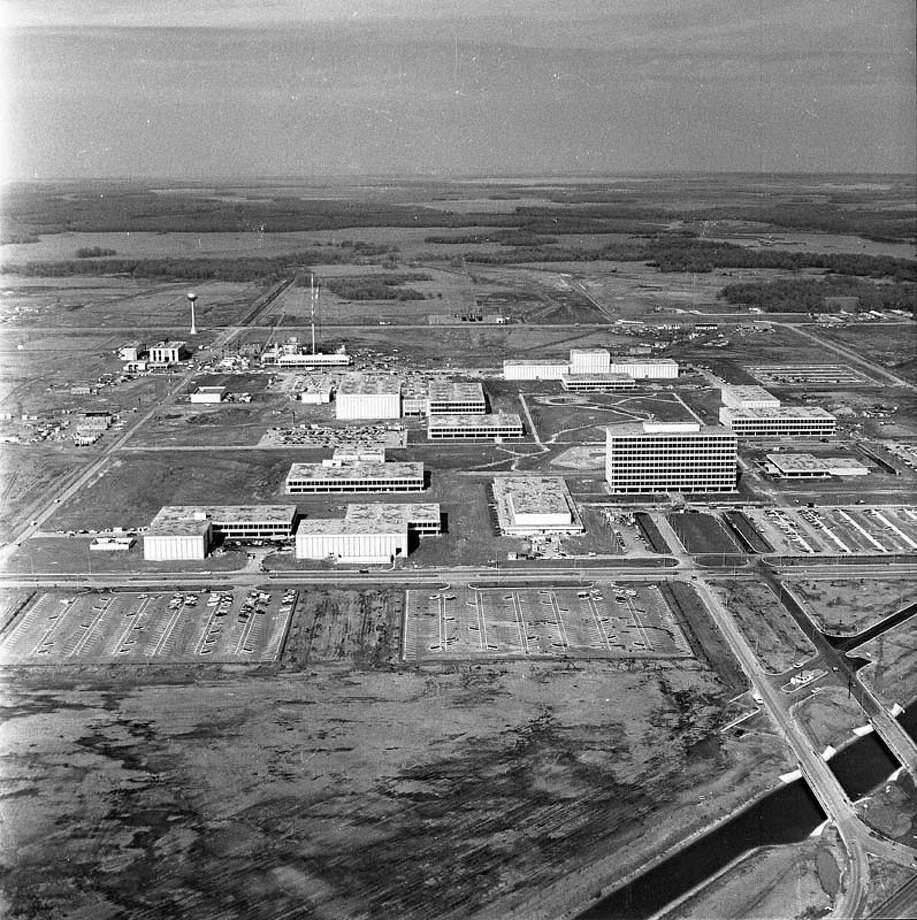 Before it was named the Johnson Space Center, the Manned Spacecraft Center broke ground and was under construction in this 1964 aerial. Photo: Houston Chronicle / Houston Chronicle