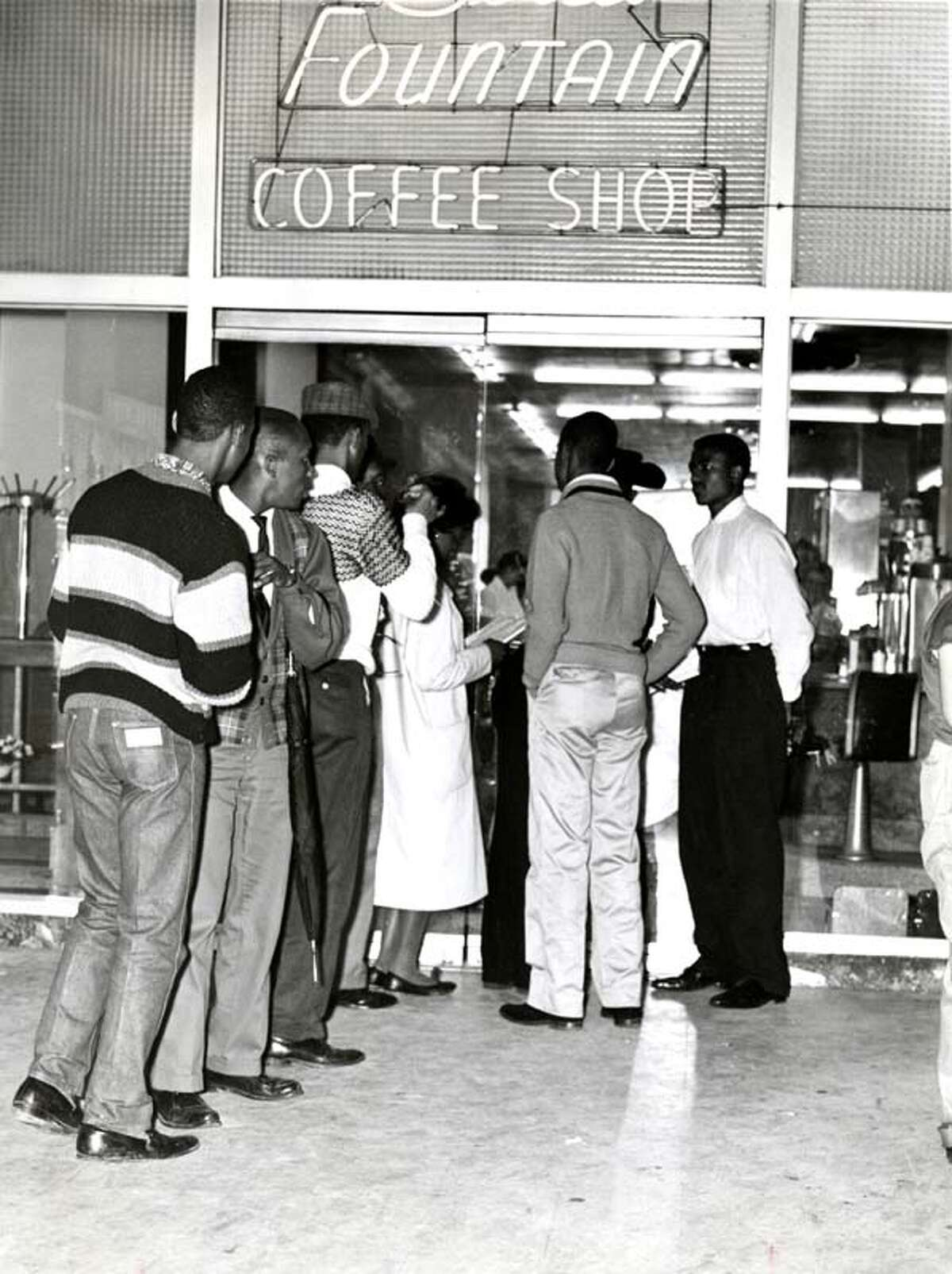 Demonstrators participate in a sit-in at the Union Station coffee shop in Houston in February 1961. Twelve were arrested.