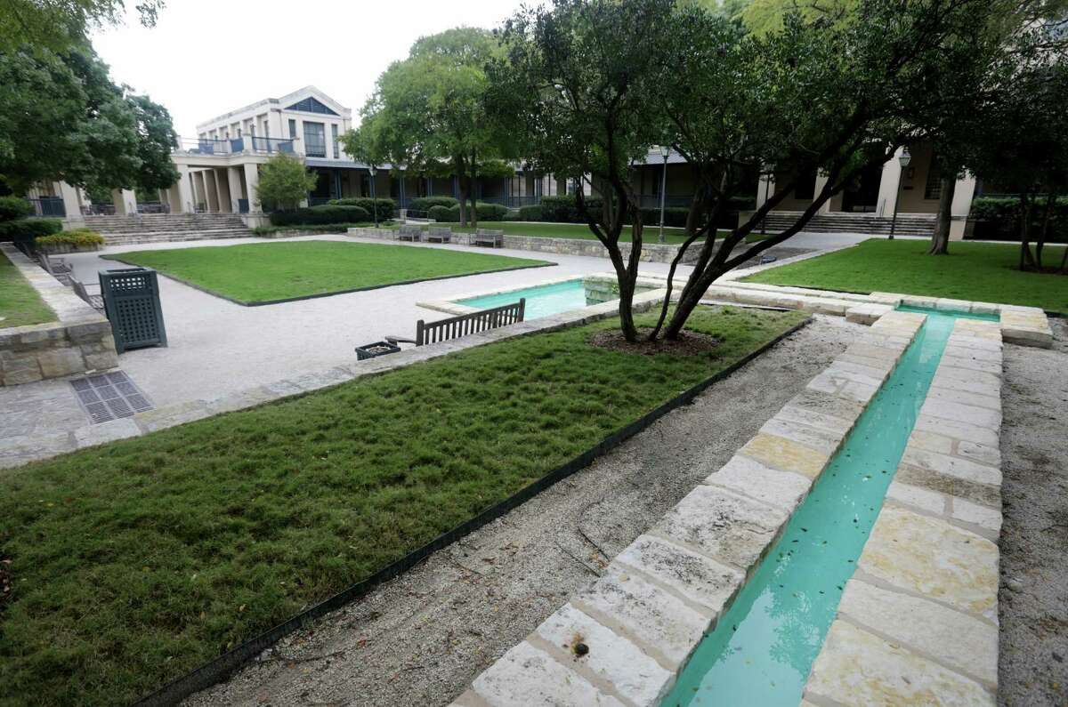 Part of a stream system that leads to a fountain in the court yard at the H-E-B Arsenal Headquarters, Friday, Oct. 18, 2013.