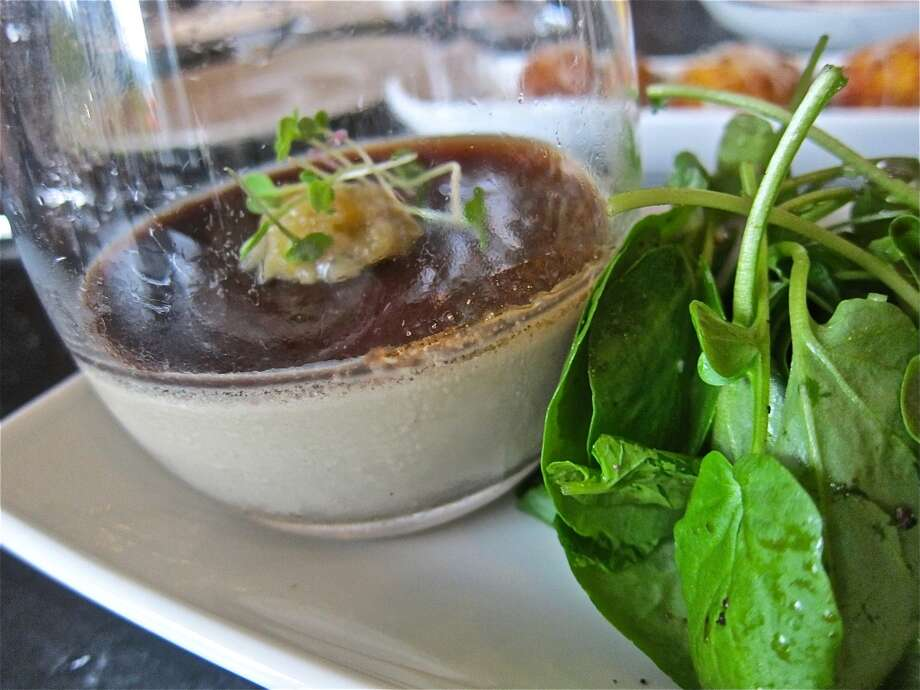 Fegatini Toscana, a chicken liver mousse with balsamic gelée at Osteria Mazzantini. Photo: Alison Cook