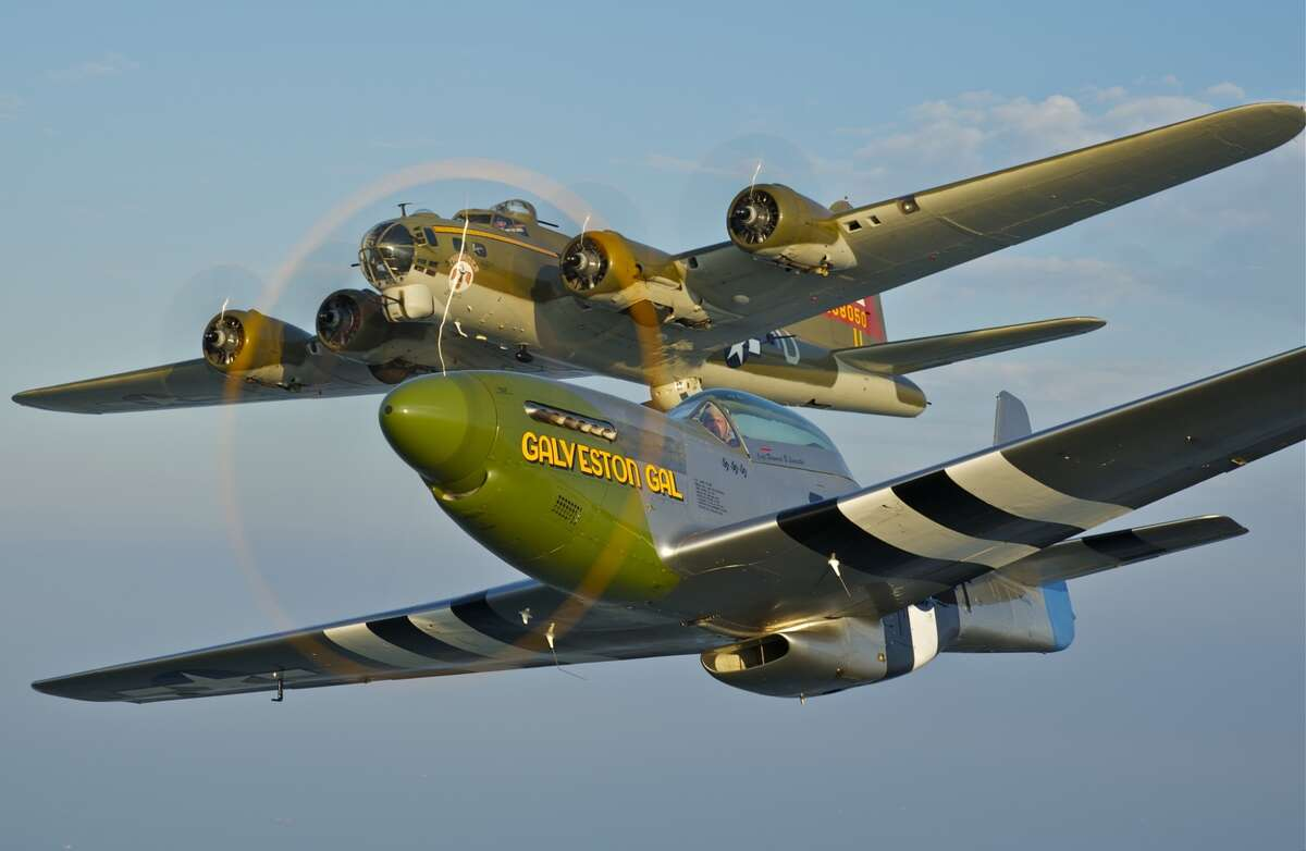The Lone Star Flight Museum's P-51 Mustang Galveston Gal and B-17 Flying Fortress over Galveston Bay.