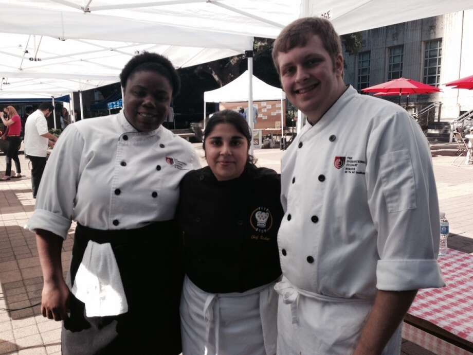 Chef Roshni Gurnani of The Art Institute prepared an Indian-spiced bread pudding with two of her students. Photo: Diane Cowen, Houston Chronicle