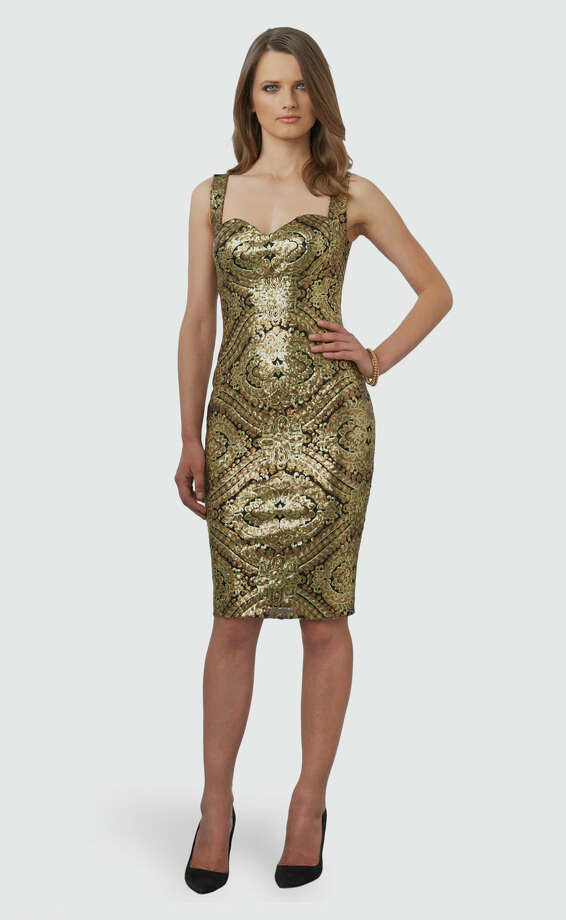 GOLD RUSHMatte gold sequins in a classic baroque pattern cover David Meister's curve-hugging cocktail dress; $545 at Neiman Marcus.