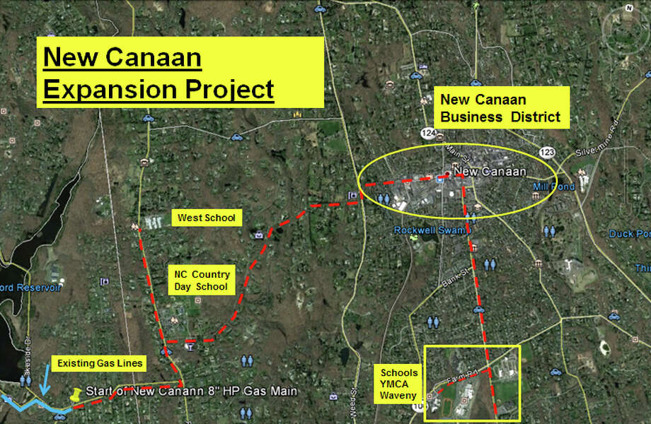 The projected path of the gas pipeline Yankee Gas has proposed to have in New Canaan. The Planning & Zoning Commission approved the project Tuesday night, Oct. 22, 2013. Image courtesy of Yankee Gas. Photo: Contributed Photo, Contributed / New Canaan News Contributed