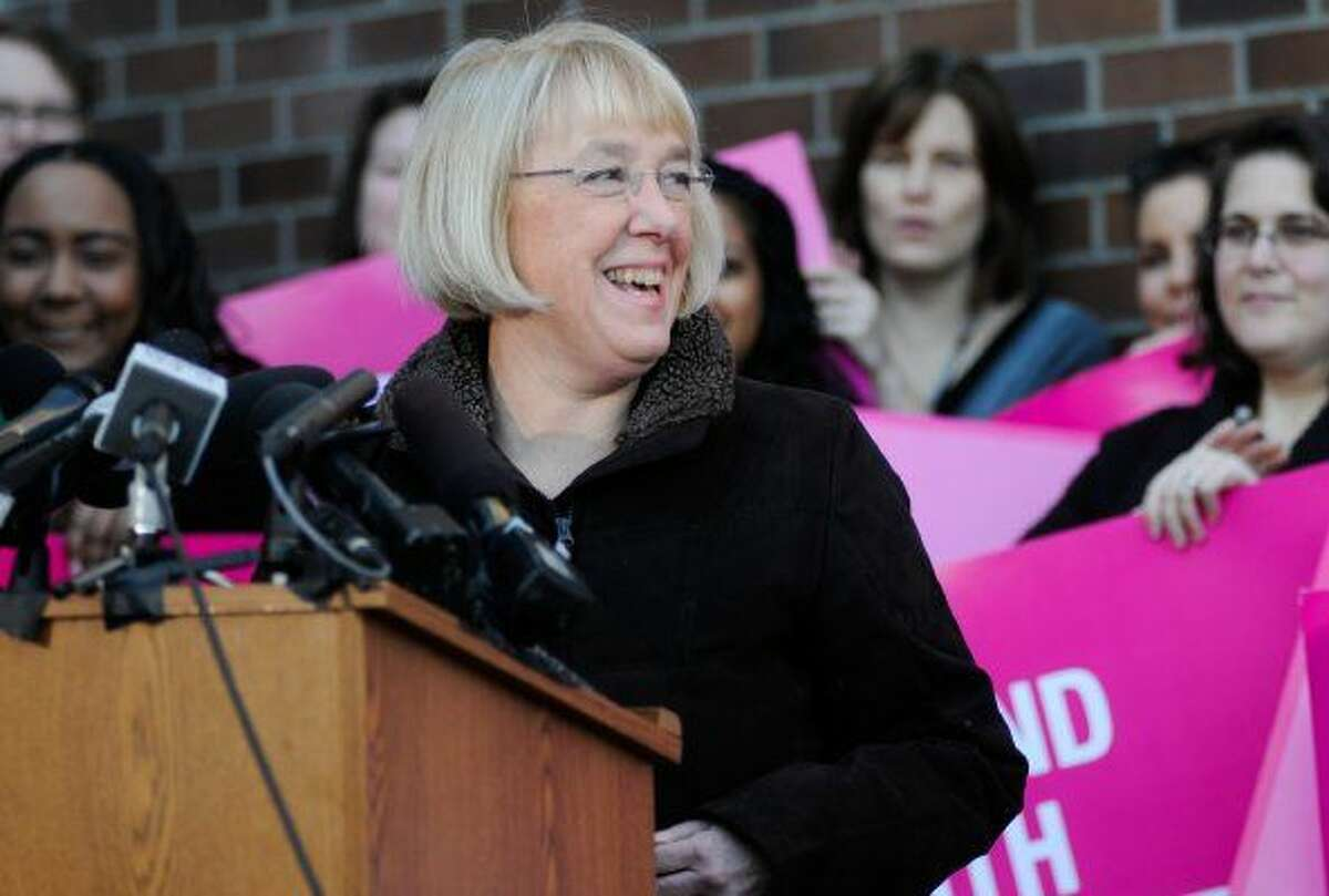 Sen. Patty Murray, D-Wash., a defender and advocate for abortion rights, speaks at Planned Parenthood in Seattle.