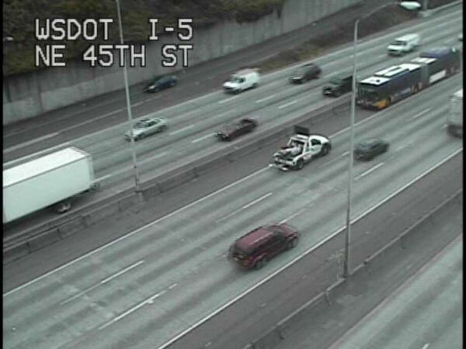"WSDOT discovers a ""disabled vehicle"" causing a disturbance on the express lanes. (WSDOT)"