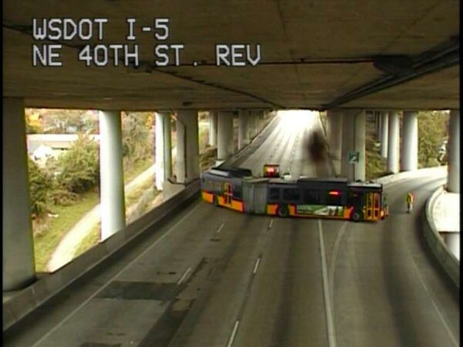 So the bus tried to flip a U-turn onto the 42nd Street exit. (WSDOT)