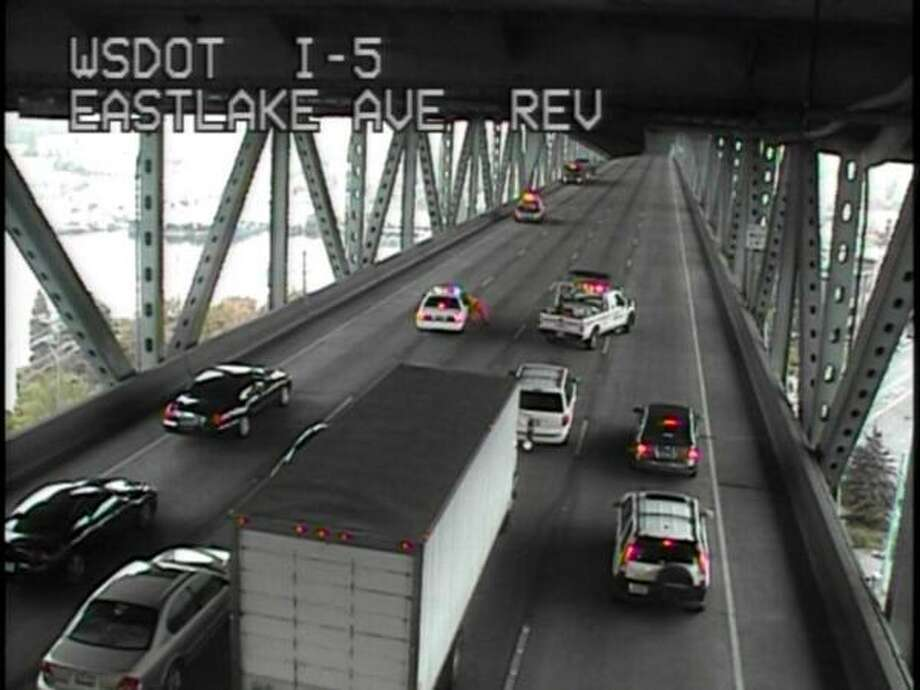 State troopers had to help clear out this traffic before the bus could proceed south to the Mercer exit. (WSDOT)