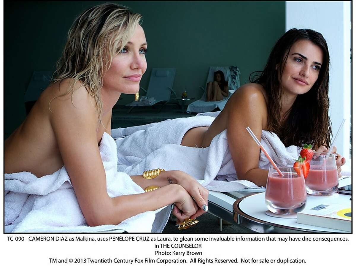 TC-090 - CAMERON DIAZ as Malkina, uses PENÉLOPE CRUZ as Laura, to glean some invaluable information that may have dire consequences, in THE COUNSELOR