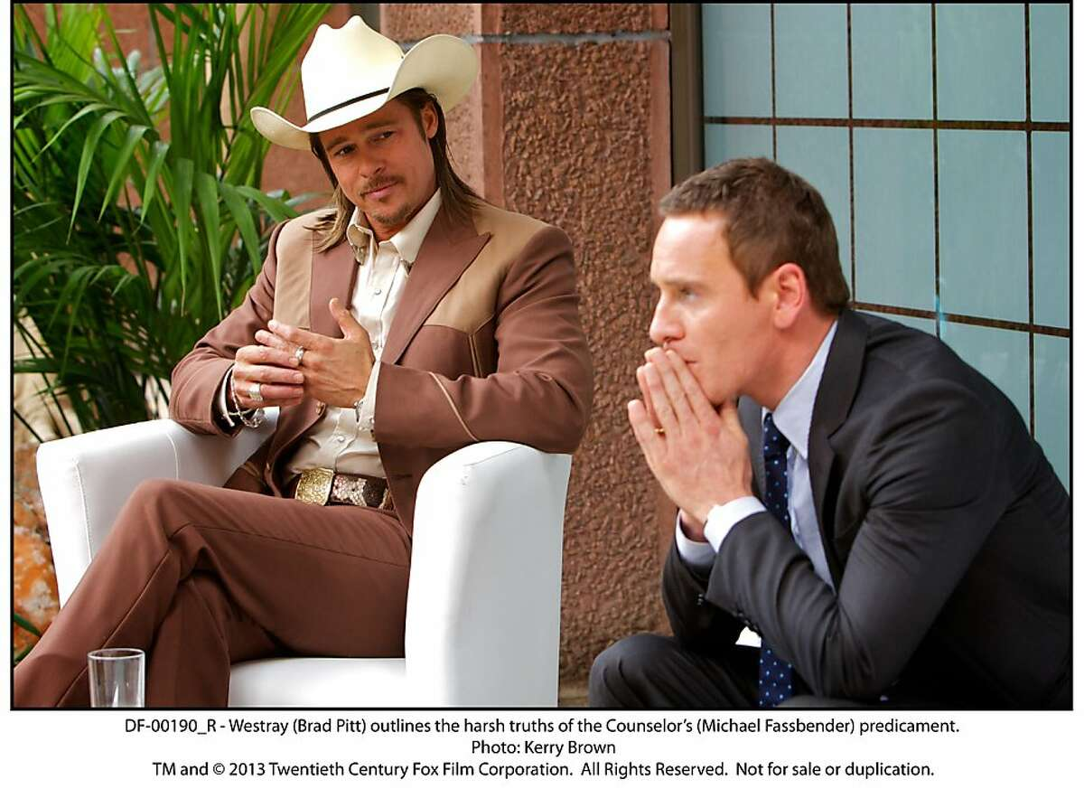 DF-00190_R - Westray (Brad Pitt) outlines the harsh truths of the Counselor's (Michael Fassbender) predicament.