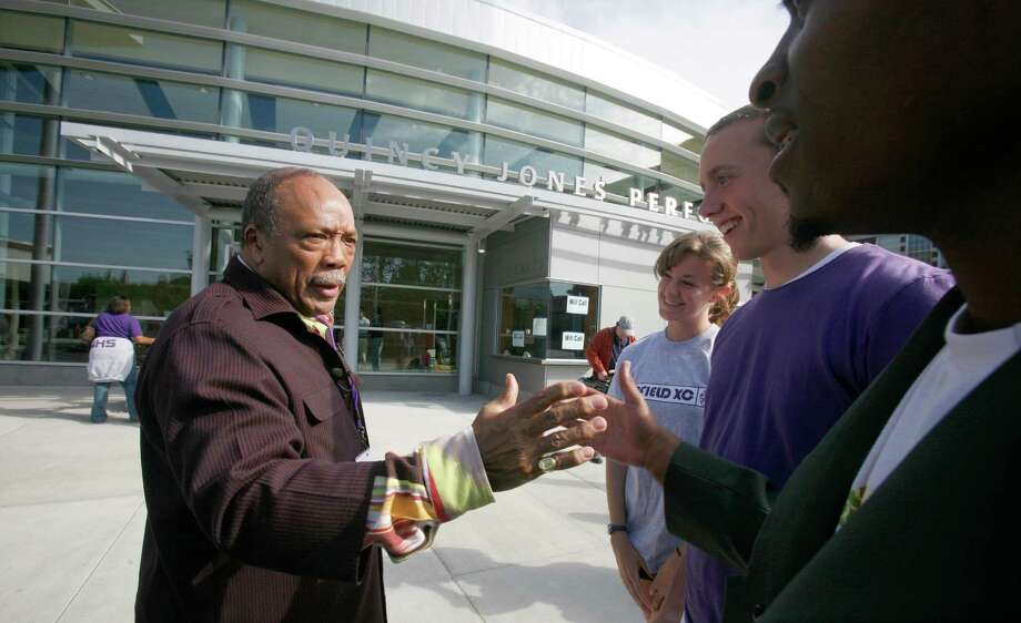 Quincy Jones, probably Garfield's most famous student, visited the school in 2008, for the opening of Garfield's new performance center in his name. Jones started at Garfield in 1947 as a sophomore.  Photo: Paul Joseph Brown, P-I File
