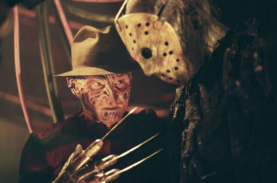 "Freddy (Robert Englund) discusses his finer points with Jason (Ken Kirzinger) in  ""Freddy VS Jason,"" an unholy marriage of horror villains. Photo: New Line Productions"