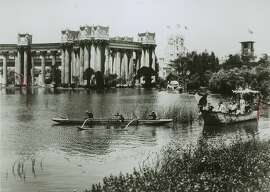 Visitors to the 1915 Panama Pacific Exposition paddling on the lagoon at the Palace of Fine Arts.   150 Anniversary maybe
