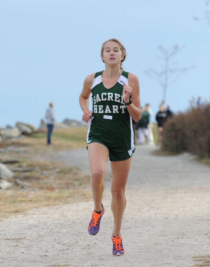 Emma Church of Convent of the Sacred Heart finishes second during the FAA cross country meet at Greenwich Point, Wednesday afternoon, Oct. 23, 2013. Photo: Bob Luckey / Greenwich Time