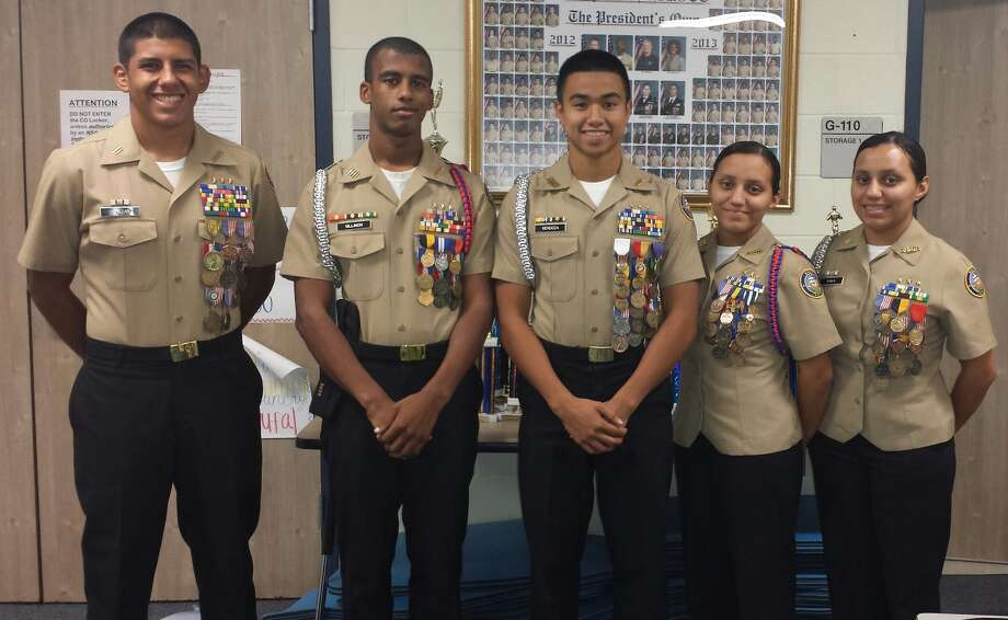 Bush High School Navy JROTC cadets, from left, Luis Salazar, Trashawn Sillimon, Daniel Mendoza, Siomara Ayala and Rosmeri Ayala won first place overall at a district competition. Photo: Provided By Fort Bend Independent School District