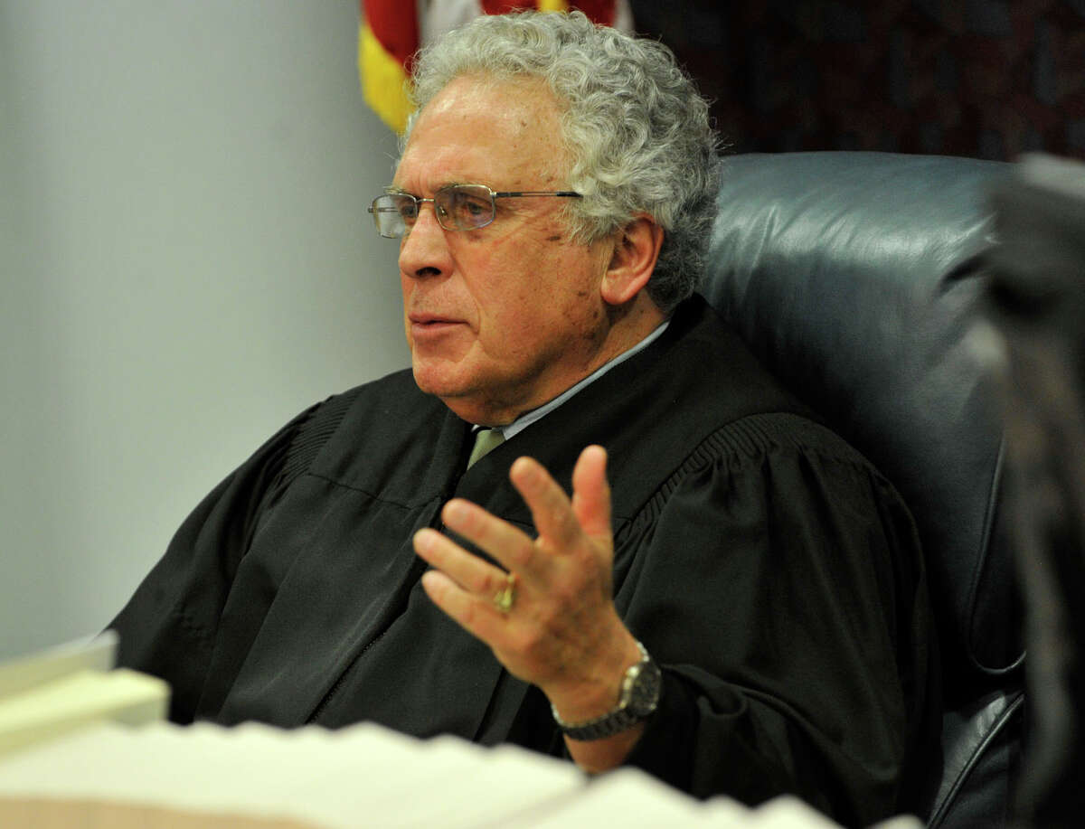 Judge Thomas Bishop speaks to opposing counsel at Michael Skakel's habeas corpus trial at State Superior Court in Vernon, Conn., on Friday, April 26, 2013.