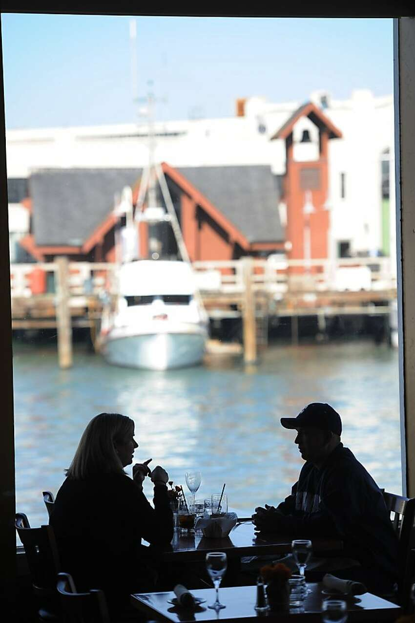 Nicole and David Tinney have lunch on October 23, 2013 at Castognola's located at 286 Jefferson Street in San Francisco.