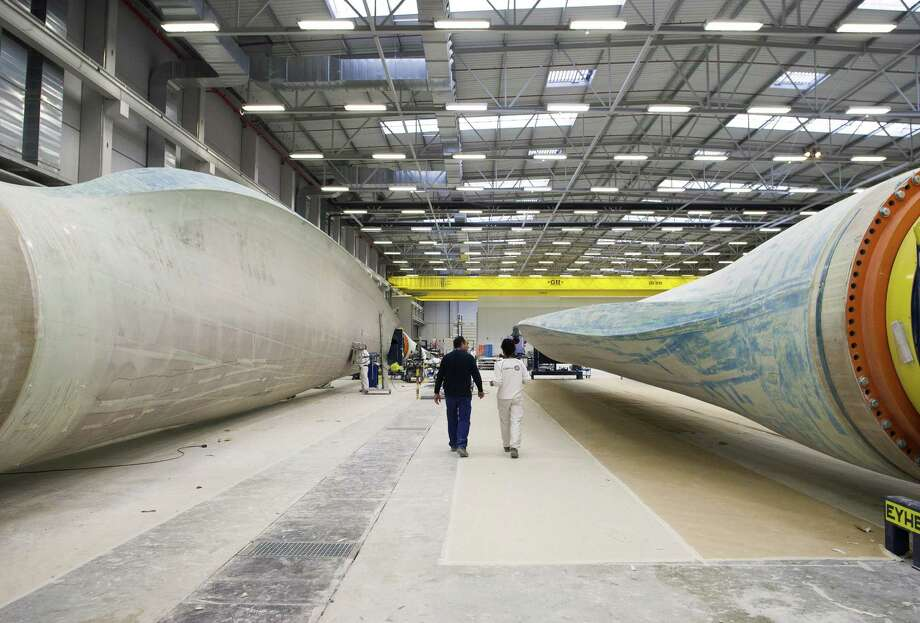 Wind turbine blades are manufactured by Gamesa Corp. Tecnologica SA at its factory in Aoiz, Spain. Gamesa is supplying 101 2-megawatt turbines to wind power developer Iberdrola for its Baffin Wind Farm in Kenedy County. Photo: Photos By Antonio Heredia / Bloomberg