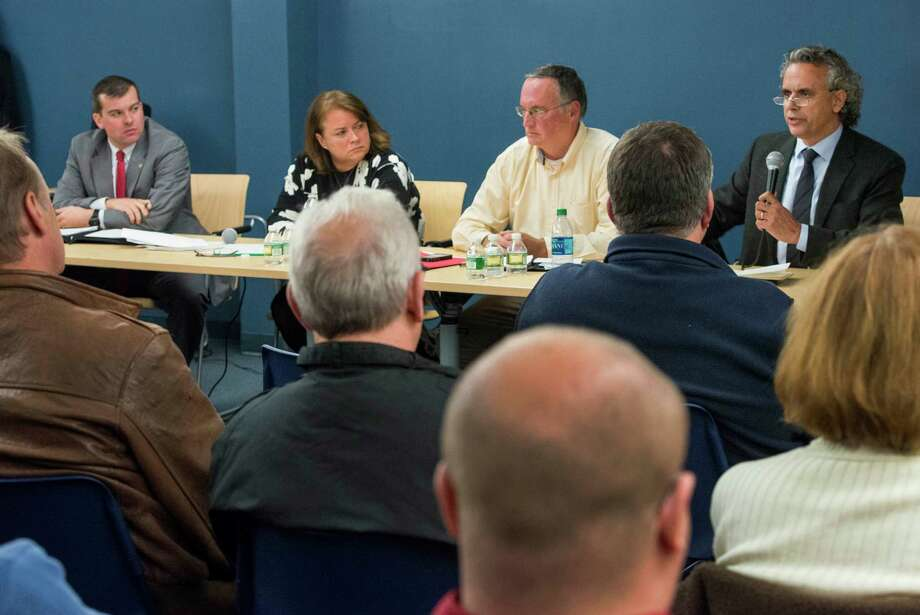 Left to right; candidates Steve Stafstrom (democrat), Sue Brannelly (democrat), Phil Blagys (republican) and Rick Torres (republican) Bridgeport 130th City Council District candidates participate in forum held at the Black Rock branch library, Bridgeport, CT on Wednesday, October, 23rd, 2013. Photo: Mark Conrad / Connecticut Post Freelance