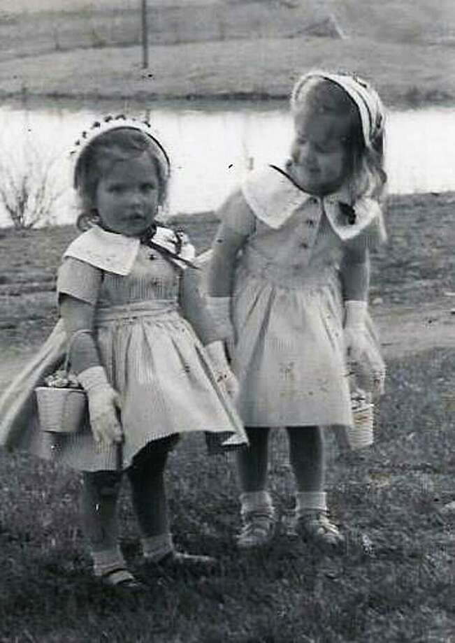 Judy and Laura all dressed up for Easter 1957 in Cooperstown New York trying to stay clean before church. (Judy Tiernan)