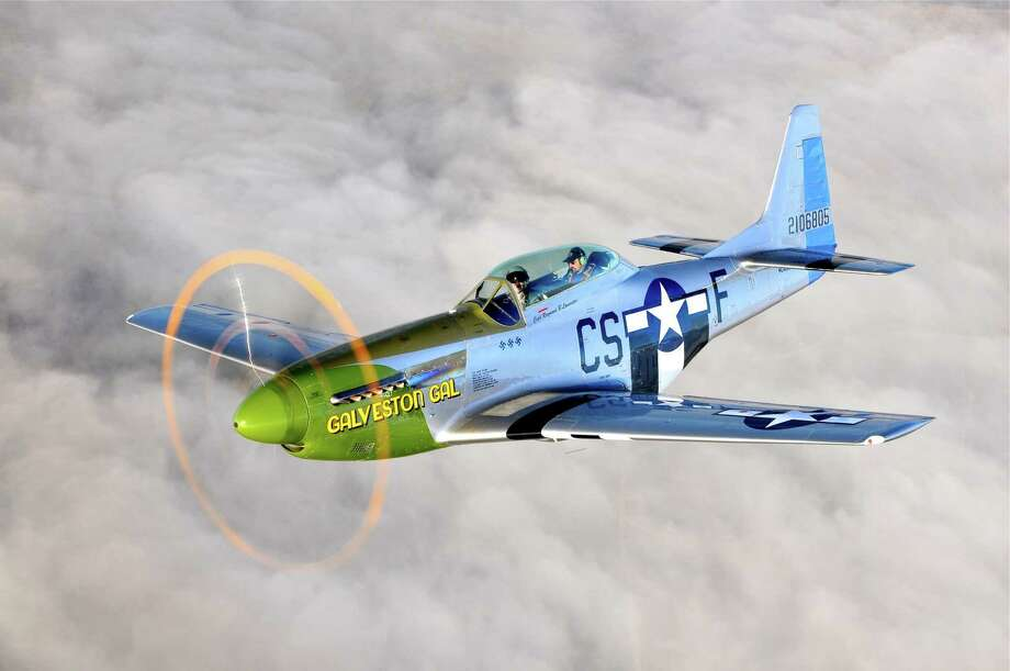 The P-51 Mustang - aka Galveston Gal - was a vintage two-seat military fighter.