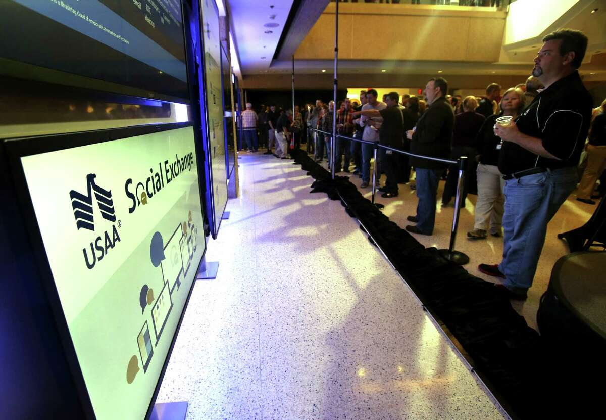 USAA employees were introduced Wednesday to the Social Exchange, an area with monitors that track mentions of the firm, Officials said the initiative is focused on turning USAA into a social enterprise.