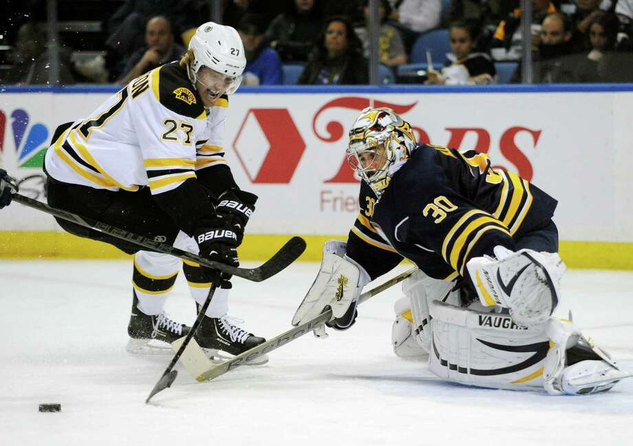 Boston Bruins' Dougie Hamilton (27) skates around Buffalo Sabres' Ryan Miller (30) during the second period of an NHL hockey game in Buffalo, N.Y., Wednesday, Oct. 23, 2013. (AP Photo/Gary Wiepert) ORG XMIT: NYGW104 Photo: Gary Wiepert / FR170498 AP
