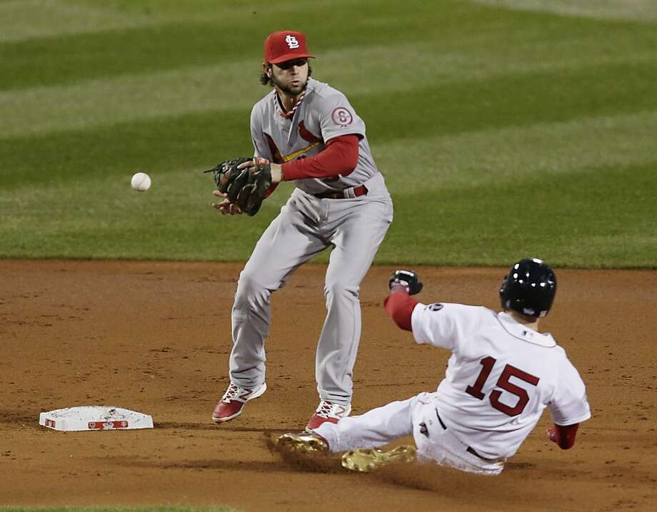 St. Louis Cardinals' Pete Kozma can't handle a throw as Boston Red Sox's Dustin Pedroia slides into second during the first inning of Game 1 of baseball's World Series Wednesday, Oct. 23, 2013, in Boston. (AP Photo/Charles Krupa) Photo: Charles Krupa, Associated Press