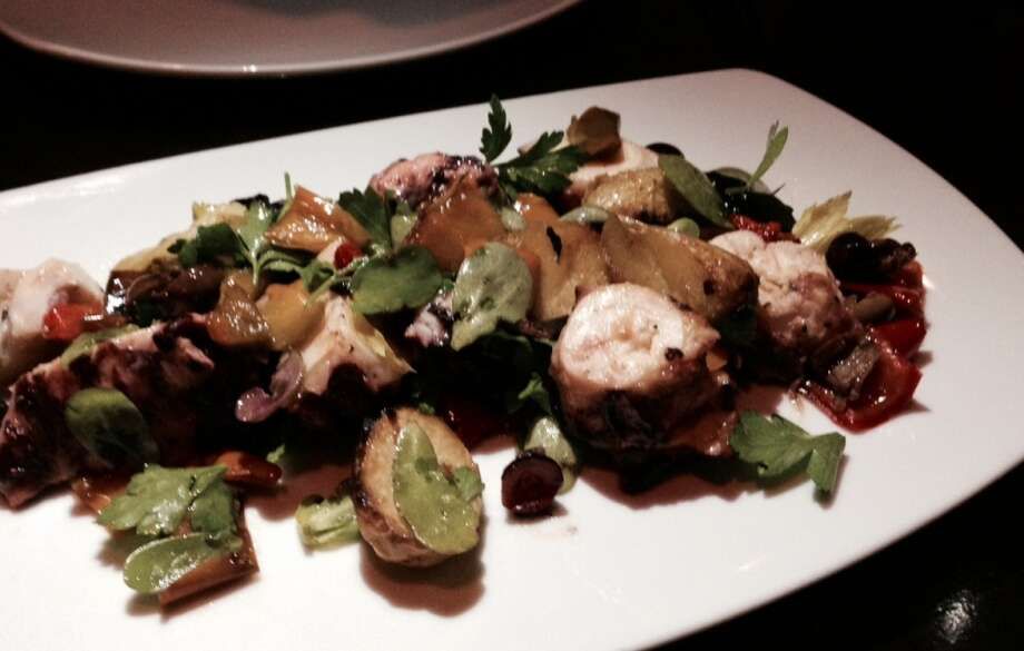 Octopus with potatoes, olives, peppers and purslane ($16).