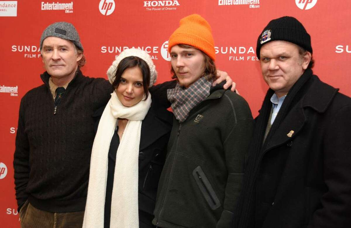 From left, actors Kevin Kline, Katie Holmes, Paul Dano and John C. Reilly attend the premiere of