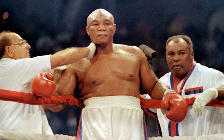 George Foreman – As puncher, preacher, family man and marketing pitchman, no Houston sports figure is larger than life like Big George. His biggest moment was winning back the world heavyweight title in 1994 at age 45. Photo: Amy Sancetta, Associated Press / AP1991