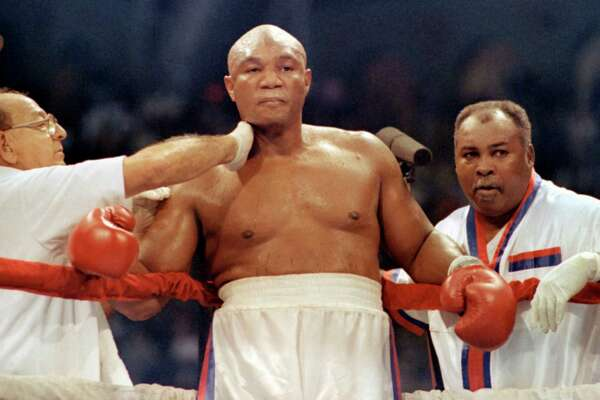 George Foreman –   As puncher, preacher, family man and marketing pitchman, no Houston sports figure is larger than life like Big George. His biggest moment was winning back the world heavyweight title in 1994 at age 45.