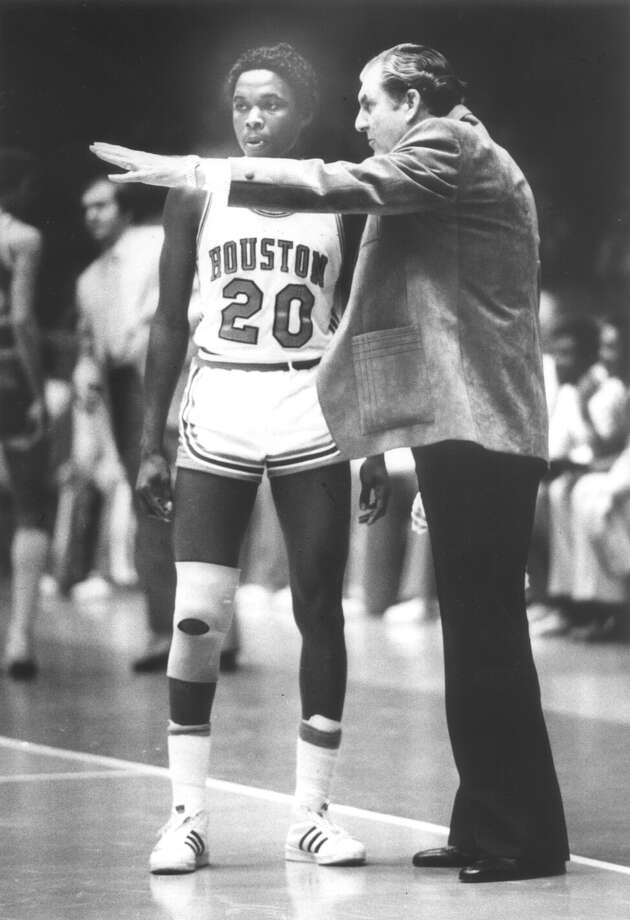 Guy V. Lewis –He's been retired for a quarter century, but you still can't think about Houston Cougar basketball and not picture Guy V. tossing his polka-dot towel in the air after a win. A true visionary, he put Houston on the basketball map. After being overlooked for years, Lewis was inducted into the Naismith Memorial Basketball Hall of Fame in 2013. Photo: Chronicle File, Houston Chronicle / Houston Chronicle