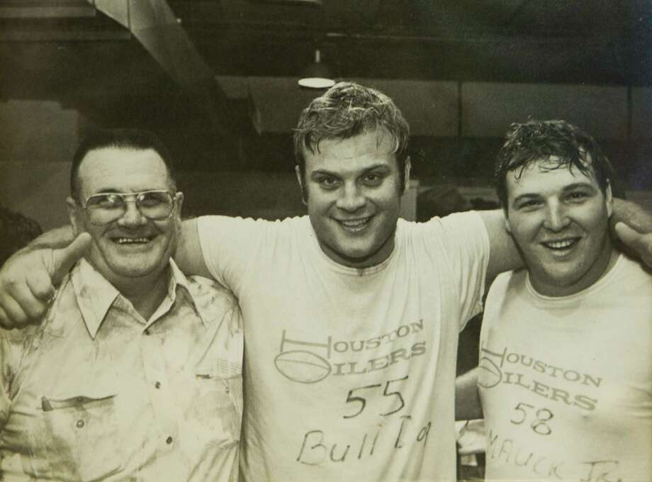 Carl Mauck (center) –Loud, abrasive and opinionated, Mauck was the lunch-pail-lugging blue-collar soul of the Luv ya Blue Oilers. Photo: Coomer, Brett, Phillips Family Photo / handout