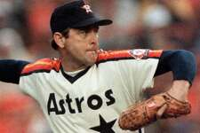 Nolan Ryan –   One of Houston's holy trinity to wear jersey number 34, the Alvin Express threw his fifth no-hitter and broke the MLB career strikeout record for his hometown team (1980-88).