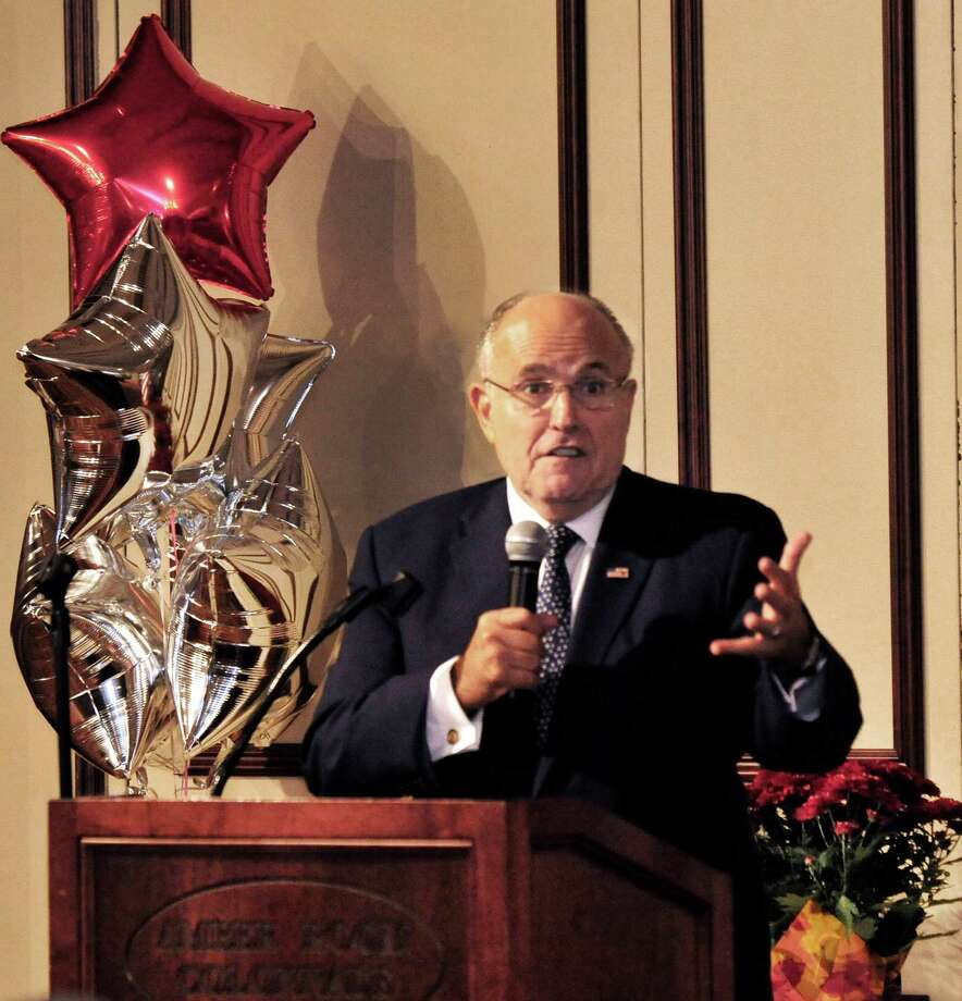 Rudy Giuliani speaks at the Amber Room Colonnade during the Annual Fall Celebrity Breakfast for Catholic Charities of Greater Danbury, in Danbury, Conn. Thursday, Oct. 24, 2013. Photo: Michael Duffy / The News-Times
