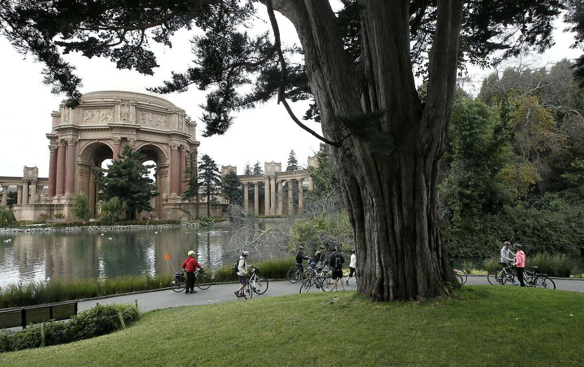 A bike tour visits the Palace of Fine Arts in San Francisco, Calif. on Wednesday Oct. 23, 2012. With the Exploratorium moving out of the exhibition hall at the Palace of Fine Arts there is talk of George Lucas creating a museum to fill the space.