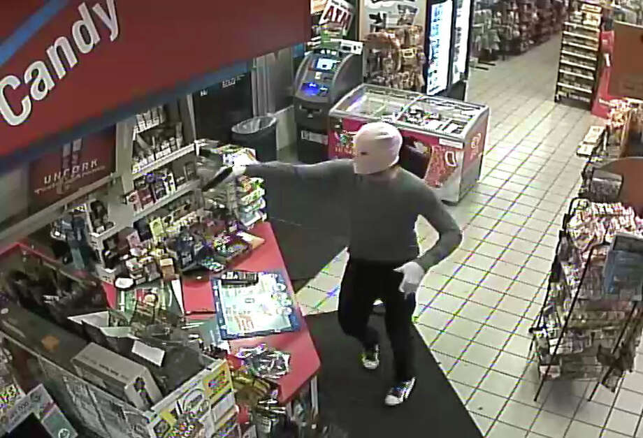 An armed man wearing a pink mask held up the Shell service station on Saw Mill Road in West Haven on Thursday morning. Photo: Contributed Photo / Connecticut Post Contributed